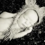 newborn baby lion hat sepia