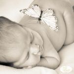sepia newborn with butterfly