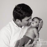 3 month old twin baby portraits | Mooresville, NC daddy and daughter black and white