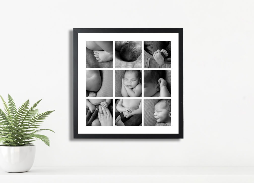 black and white collage frame newborn baby, Fort Mill, SC, Charlotte, NC, York, SC