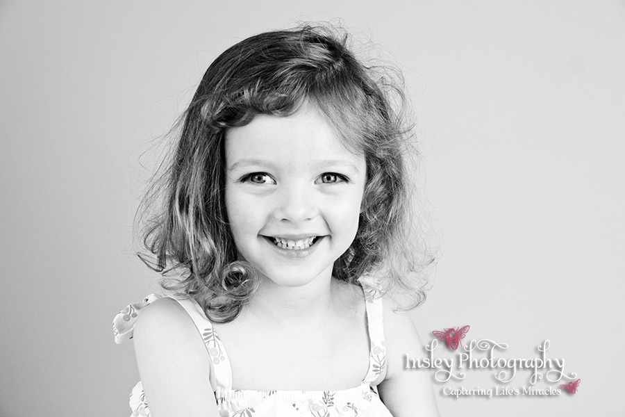 3 year old girl portrait head shots black and white