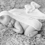 Oliver 9 days old black and white newborn sessions indoor baby portrait photo