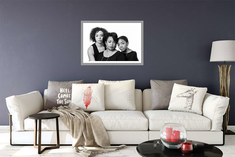 fun formal family portraits, finished portrait, wall artwork, fort mill, sc, Charlotte, NC, Tega Cay, SC, mom and daughters