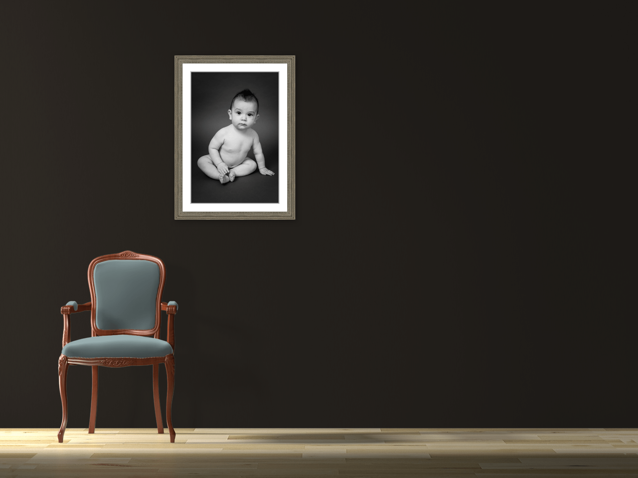 framed baby portrait sitting up boy black and white