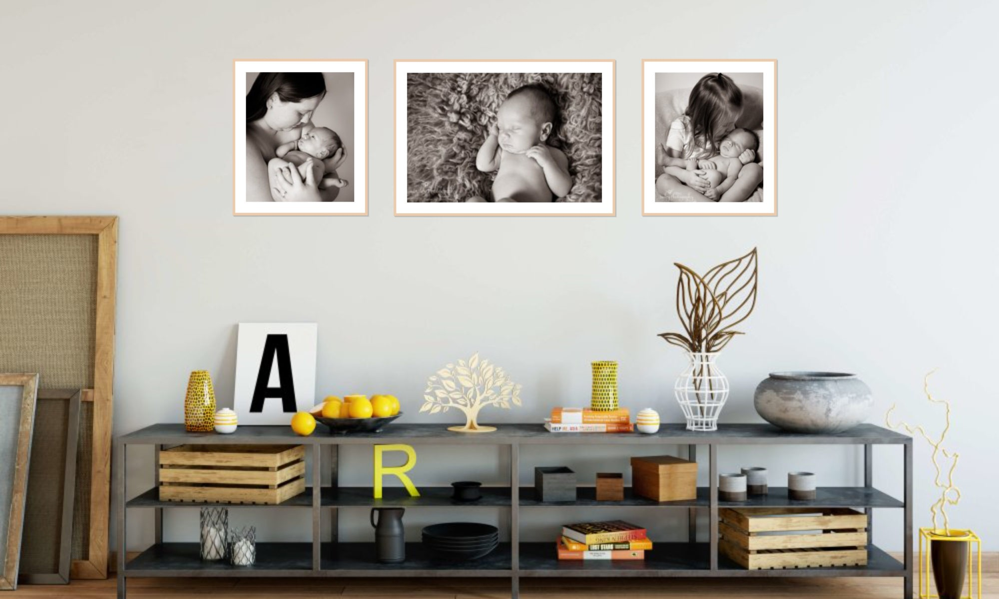 artist's loft wall artwork collection, baby photographs, Fort Mill, SC, Charlotte, NC, Tega Cay, SC, preparing for your portrait session