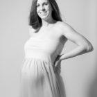 dreamy maternity in studio flowing cream dress