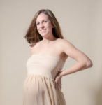 dreamy maternity in studio flowing cream dress