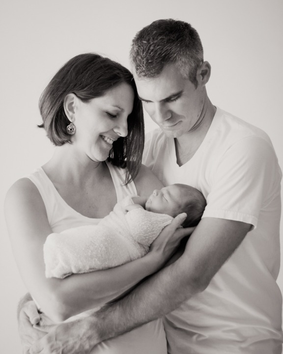 Baby Max 4 days new parents with newborn black and white