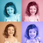popart 3 years old girl black and white toned andy warhol