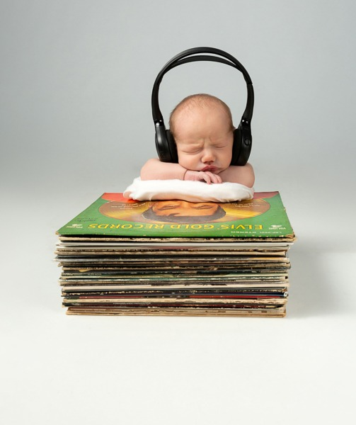 Planned baby, Music man, baby posed on records, Charlotte NC, Fort MIll SC