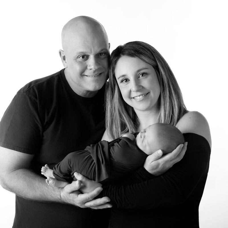 parents with newborn baby black and white, Rock Hill, SC, York, SC
