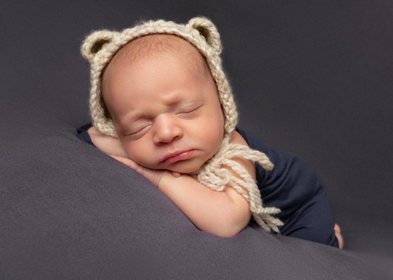 newborn baby boy, bear hat, Charlotte NC, Rock Hill, SC