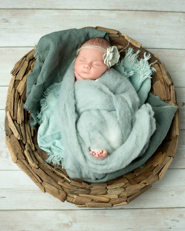 newborn baby girl in seaglass green, Charlotte NC, Fort Mill, SC